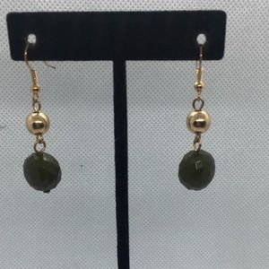 4 for $12: Gold Tone w/ olive green bead earrings